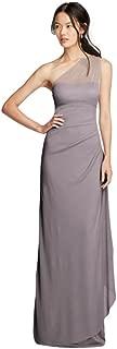 David's Bridal Long Mesh One Shoulder Illusion Bridesmaid Dress Style F19074