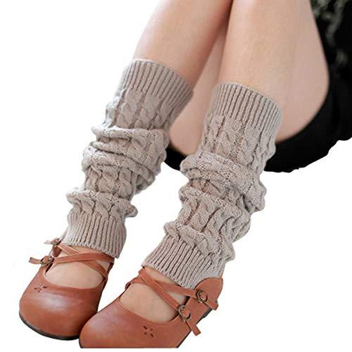 Amayay Butterme Frauen Damen Mode Beinlinge Strumpf Winter Stricken Starke Lange Einfacher Stil Socken Lady Legging Bestes Weihnachtsgeschenk (Color : Hellgrau, Size : One Size)