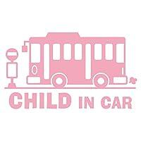 imoninn CHILD in car ステッカー 【シンプル版】 No.61 バス (ピンク色)