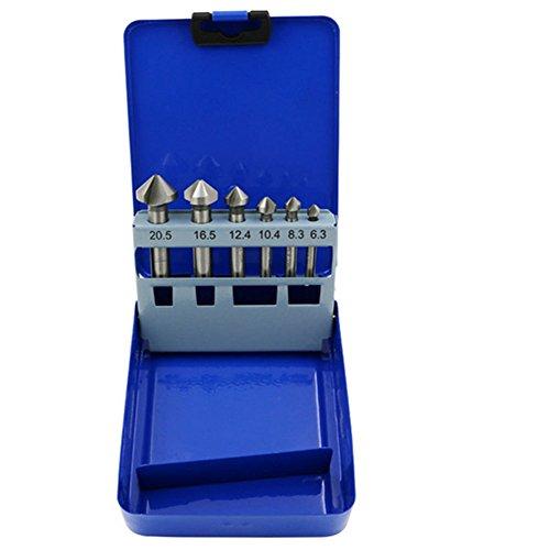 6pcs 90Grado HSS brocas de avellanado broca fresa de corte herramientas con caja de metal
