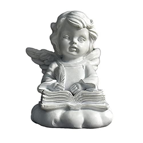 Mädchen Engel Harz Statue mit Flügeln, Leesboek Gezicht Vasthouden/Denken Fee Figuren, für Desktop Dekorationen Einrichtung, Gartendekoration