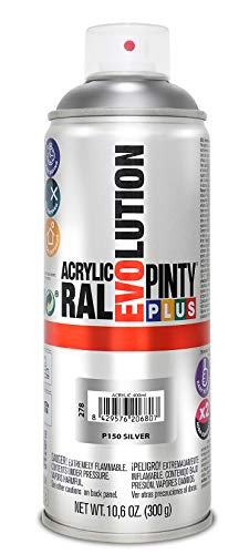 PINTYPLUS EVOLUTION Novasol M129407 - Pintura spray acrilica 520 cc plata purpurina, 0.6