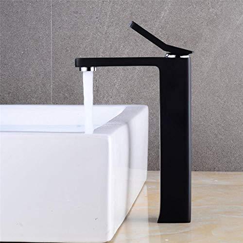 Cuarto de baño de latón grifo del lavabo del Blanco/Negro del fregadero grifo sola manija grifo de agua del grifo de lavabo caliente y fría de la grúa elegante Torneira, negro