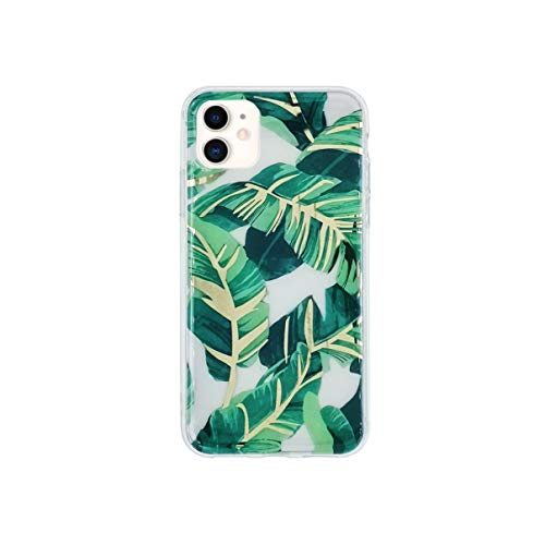 HolaStar Tropical Case Compatible with iPhone 12 Pro/12, Ultra Thin Glossy Green Palm Leaves with Gold Stem Clear Girly Design Protective Cell Phone Cover
