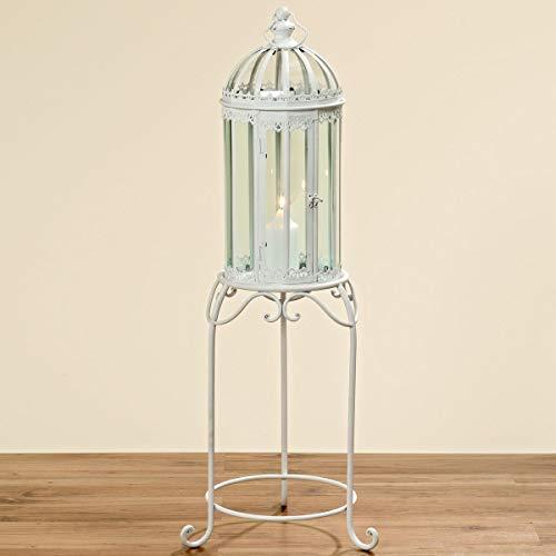 Mooi leven. Windlicht lantaarn op standaard wit metaal glas 115x29cm