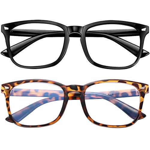 Blue Light Blocking Glasses 2pack Square Computer Glasses Women/Men, Nerd Reading Gaming Glasses Non Prescription (B3-black+leopard)