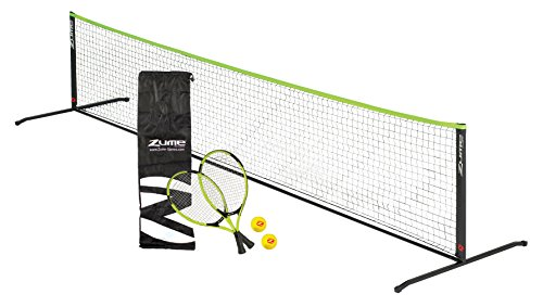 Zume Games Portable, Instant Tennis Set Includes Two Rackets, Two Balls, Net, and Carrying Case