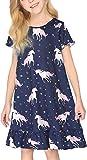 untlet Nachthemd Mädchen Kurzarm Kinder Sleepwear Sommer Nachthemden für Mädchen,A-Blau,150