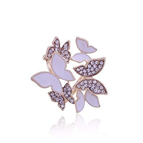 YANGYUAN Broche de flores con hebilla para bufanda, ramo de moda, con cristales de imitación de lujo, para mujer, Navidad, color metálico: B)