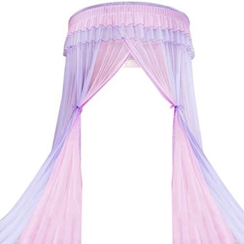 Iycorish Dosel de Cama Colores Dobles Colgado Mosquitera Princesa Cama Tienda Cortina Toldo Plegable en la Cama Elegante Hada Encaje 5