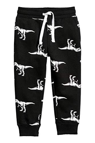 JinBei Pantaloni Sportivi Bambino Pantaloni Ragazzo Tuta Nero Coulisse Cotone Casual con Tasche Scuola Jogging Dinosauro Stampa Pantaloni Bambini e Ragazzi 2 3 4 5 6 7 Anni