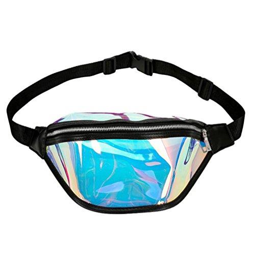 Malloom® Mode Strandtasche Frauen Messenger Cute Laser Umhängetasche Brusttasche Fashion Lady Transparent Gelee Laser Schulter Messenger Bag Gürteltasche (schwarz)