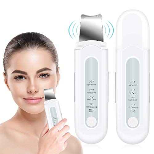 ROOHUA Skin Scrubber Face Spatula, Ultrasonic Blackhead Remover with 4 Modes,Face Skin Pore Clean and Exfoliator, Comedone Extractor, Facial Lifting Treatment