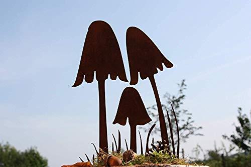 Rostikal | Metalldeko Herbst Pilze| Rostdeko für den Garten | auf Bodenplatte oder zum Stecken (zum Stecken)