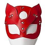 Maschera Sexy da Donna,Mezzo Occhi Cosplay Maschera in Pelle di Gatto in Maschera Costume in Maschera,per Maschere di Carnevale A Palla,Rosso