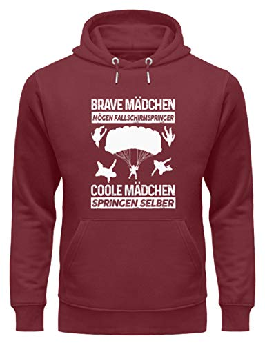 shirt-o-magic Fallschirmspringen: Coole Mädchen springen selber - Unisex Organic Hoodie -L-Burgundy