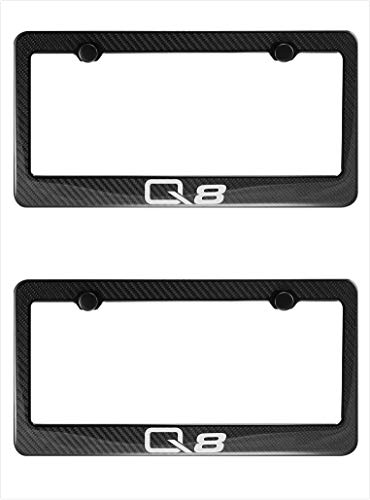 Lavnox Carbon Fiber Metal Q8 License Plate Frame Tag Holder Mount for Audi Q8 (2)