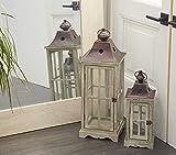Deco 79 53165 Wood Metal Glass Lantern (Set of 2) 26', 18' H