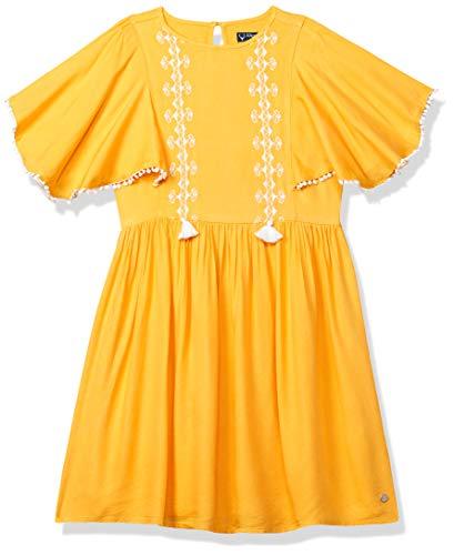 Allen Solly Junior Rayon A-Line Dress (AGDRERGHZ75404_Yellow Ochre_10)