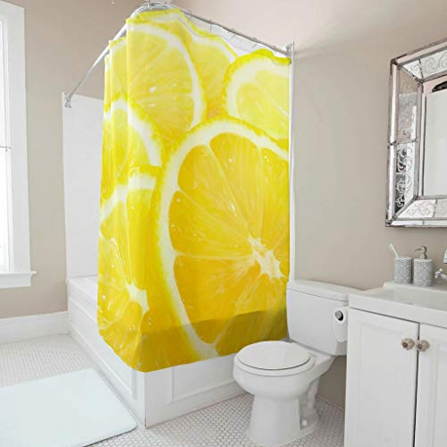 Gamoii Gelbe Frucht Schneidet Zitrone Duschvorhang Bad Gardinen Personalisiert Badezimmer Gardinen Waschbar Shower Curtains mit Ringe White 120x200cm