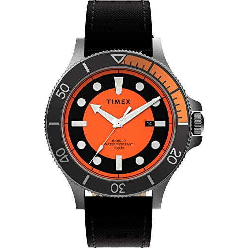 Timex Men's Allied Coastline 43mm Analog Quartz Cloth Strap, Black, 20 Casual Watch (Model: TW2U10700)