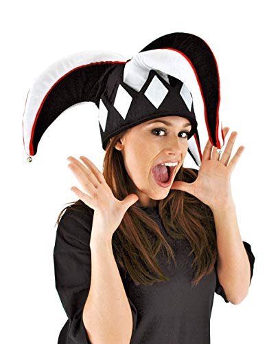 Court Jester Black and White Plush Costume Hat with Bells