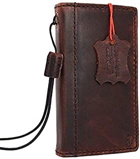 Genuine vintage Leather Classic Case for Iphone 4 4s Book Wallet Handmade cover slim brown thin Id daviscase