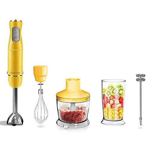 Karinear Frullatore a Immersione, 5 in 1 Mixer Cucina da 500 ml, Tazza da 600 ml con Frusta per Uova, 12 Velocità, 800 W