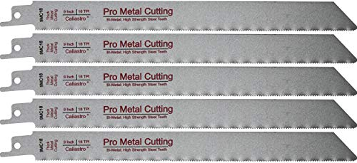 9-Inch Thick Metal Cutting Reciprocating Saw Blades (18 TPI) Made of Long Lasting Bi-Metal (HSS teeth bonded to HCS body) - 5 pack