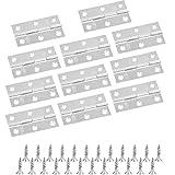 BUYGOO 10 bisagras plegables de acero inoxidable de 6.6 cm para muebles de casa, bisagras de armario con 60 tornillos diy bisagras pequeñas manualidades