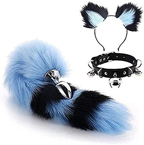 Bnmgh 3 Stück Set Cute Fox Tail Plùg Bùtt Set Sěx Ohr Anzug Choker Collar Kätzchen, Cat Bell playon-d-a-g Ḕromḁnce R-e-a-traḮnts Cosplay Die Ḅed Ḅon-d-a-g Ḕwear Ṥet Frauen für Paare