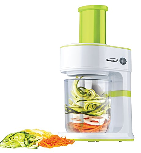 Brentwood Electric Vegetable Slicer Spiralizer, 5-Cup, Green
