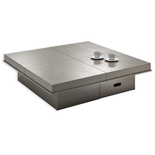 IDIMEX Table Basse Extensible Acapulco Table d'appoint carrée Fonctionnelle avec 1 tiroir, Table de Salon avec 4 Plateaux coulissants en MDF Effet Croco Coloris Cappuccino