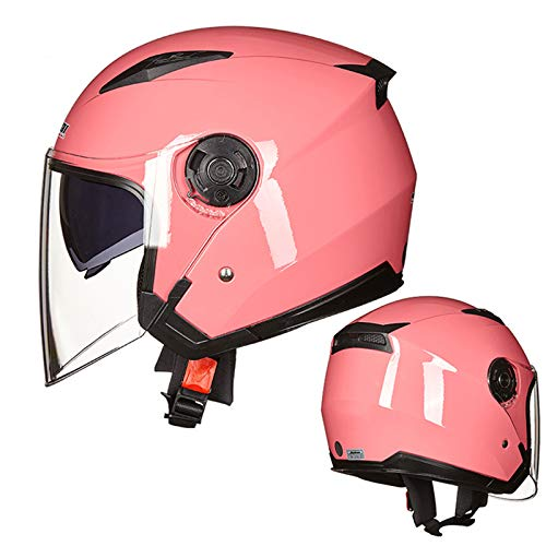 DW007 Casco patear Scooter eléctrico Voltear Cruz Anti Niebla Motocicleta Helmets Universal Sombrero,Rosado,XL