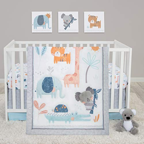 Sammy & Lou Koala & Friends 4 Piece Crib Bedding Set for Boys   Jungle Theme Nursery Quilt, Fitted Crib Sheet, Crib Skirt, and Plush Animal Koala Bear