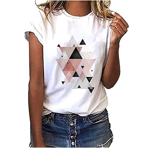 Jamicy Tshirt Oberteile Damen Teenager Mädchen Elegant Sommer Bunt Geometrische Drucken Tee Tops Kurzarm Pullover O-Ausschnitt Sport Tshirt Damen Fitness Bluse Basic Tshirts Weiss