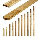 Zaunbretter Rundkopf 11 Größen • 50cm hoch • Imprägnierte Zaunlatten Holz für Holzzaun, Lattenzaun, Gartenzaun und Friesenzaun