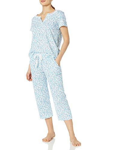 Karen Neuburger Conjunto de Pijama de Manga Corta para Mujer, Ditsy - Lámpara de Techo, Color Blanco, Petite - X-Large