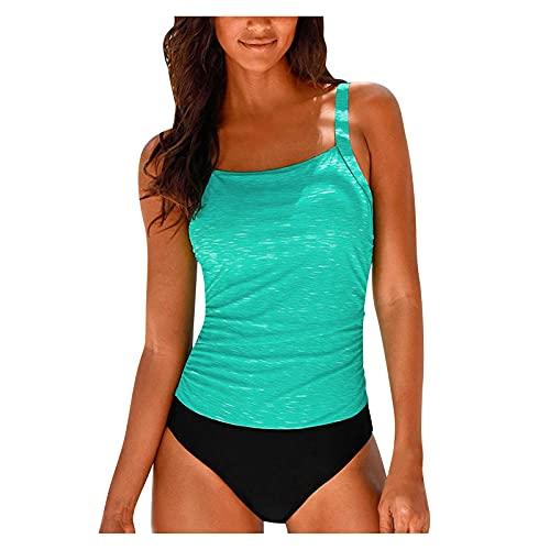 YAOBF GekräUselte Tankini-BadeanzüGe für Frauen Palmperfekter Bikini-Trimmer Jahrhundert Stern Badeanzug GroßEr Bikini MäDchen Bikini GrößE (Light Blau 1,S)