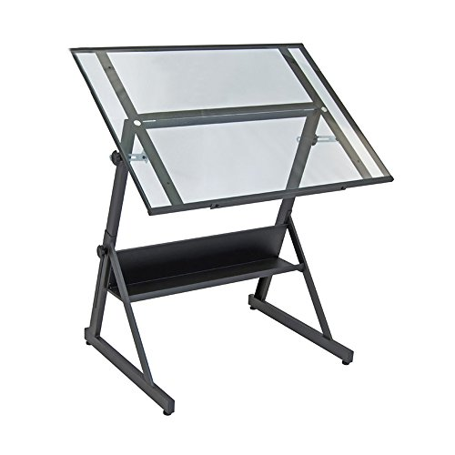 Offex Home Solano Adjustable Drafting Table Charcoal/Clear Glass