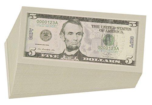 Juvale Spielgeld 5-Dollar-Scheine (Set, 100 Stück) - Täuschend Echt - Zum Mathe Lernen für Kinder - Für Motto-/Themenpartys, Karneval, Fasching - 12,7 x 6,3 cm