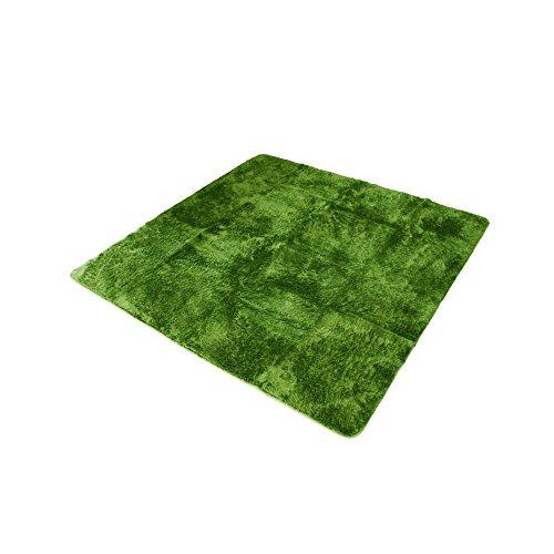 すべり止め付き マイクロファイバーシャギーラグ 【パルシェⅡ グリーン】 サイズ:約 185x240cm 3畳 オールシーズンラグ ウォッシャブル マット 絨毯 カーペット ホットカーペット床暖対応 洗える ふかふか 長毛
