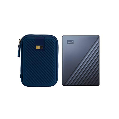 WD 2TB My Passport Ultra USB 3.0 Type-C Slim Portable External Hard Drive (Blue) + Compact Hard Drive Case (Navy Blue)