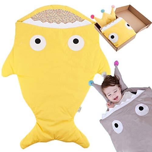 Bospyaf Baby Shark Anti-Kick-Schlafsack, Multifunktionale Baby-Universaldecke, Baumwollsüße Neugeborenen-Bettwäsche (Schlafsack + Kopfkissen),Gelb
