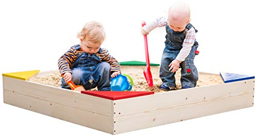 PLAYBERG Outdoor Wooden Sand Box with Floor Cover and Waterproof Protection Cover, Square Sandpit for Kids, QI003792_Set