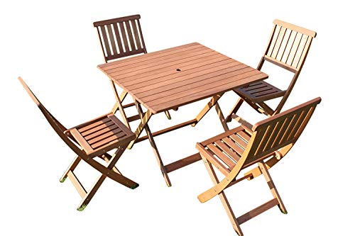 Olive Grove Victoria Quality Solid Hardwood Square Garden Dining Table and 4 Folding Chairs