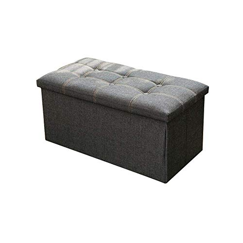 TT&D AGLZWY inklapbare opslag Ottoman Box stoel voetenbank en rustbank met deksel linnen stof (kleur : blauw, maat: 76X38X38CM) 76X38X38CM Gtaglzwx6310r-1