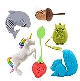 Cute Animal Silicone Tea Filters Tea Infuser-Unicorn Shark Squirrel Cat Owl Elephant Tea Strainer Steeper-Ideal Gift for Tea Lovers