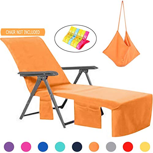 VOCOOL Chaise Lounge Chair Towel Cover with Side Pockets No Towel Clips Needed Lounge Chair Mate for Swimming Pool, Sun Lounger, Hotel, Vacation Orange