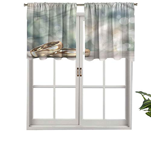 Hiiiman Elegant Rod Pocket Curtain Valances Rings Abstract Bokeh, Set of 2, 54'x36' Home Decoration for Boys-Girls Room